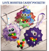 In The Hoop Love Monster Treat Pocket Embroidery Machine Design Set