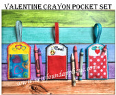 In The Hoop Valentine Crayon Pocket Embroidery Machine Design Set
