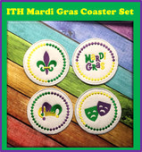 In the Hoop Mardi Gras Coaster Embroidery Machine Design Set
