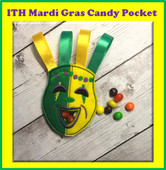 In The hoop Mardi Gras Mask Candy Pocket Embroidery Machine Design