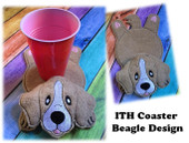 In The Hoop Flat Coaster Beagle Embroidery Machine Design