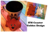 In The Hoop Flat Coaster Golden Embroidery Machine Design