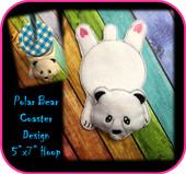 In the hoop Polar Bear Coaster Embroidery Machine Design