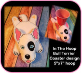 In the HooBull Terrier Coaster Embroidery machine Design