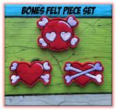 In The Hoop Bones Felt Bits & Pieces Embroidery Machine Design Set