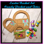 In the Hoop Easter Basket Candy Pocket and Candy Tote Embroidery Machine Design Set