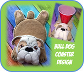 In The Hoop Flat Bull Dog Coaster Embroidery Machine Design
