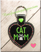In The Hoop Cat Mom Snap Tab Key Fob Embroidery Machine Design