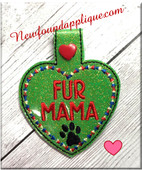In The Hoop Fur Mama Snap Tab Key Fob Embroidery Machine Design