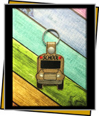 InThe Hoop School Bus  Snap Key Fob Embroidery Machine Design