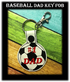 In The Hoop Soccer Dad Key Fob Embroidery Machine Design