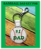 In The Hoop Baseball Dad Key Fob Embroidery Machine Design