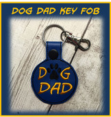 In The Hoop Dog Dad Snap Key Fob Embroidery Machine Design