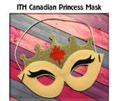 In The Hoop Canadian Princess Child Mask Embroidery Machine Design