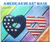 In The Hoop American Heart Child Mask Embroidery Machine Design