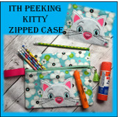 In The Hoop Peeking Kitty Zipped Bag Embroidery Machine Design