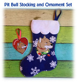 ITH Pit Bull Stocking and Heart Ornament Embroidery Machine Design Set