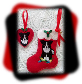 In The Hoop Border Collie Stocking and Heart Ornament Embroidery Machine Design Set