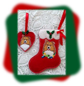In The Hoop Collie Heart Ornament and Stocking Embroidery Machine Design Set