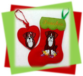 In The Hoop Boxer Stocking and Heart Ornament Embroidery Machine Design Set