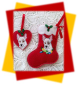 In The hoop Bull Terrier Stocking And Heart Ornament Embroidery Machine Design Set