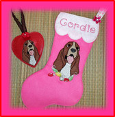 In The Hoop Basset Hound Stocking and Heart Ornament Embroidery Machine Design Set