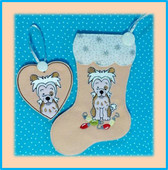 In the hoop Chinese Crested Dog Stocking and Heart Ornament Embroidery Machine design Set