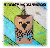 In The Hoop Owl Cell Phone Case Embroidery Machine Design