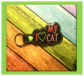 In The Hoop I Heart My Cat Key Fob Embroidery Machine Design
