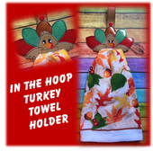 In The Hoop Turkey Towel Holder Embroidery Machine Design