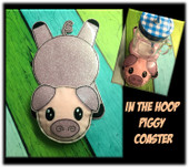 In The Hoop Piggy Flat Coaster Embroidery Machine Design