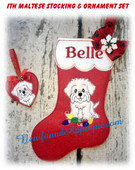 In the hoop Maltese Stocking and Heart Ornament Embroidery Machine Design Set