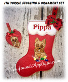 In The Hoop Yorkie Stocking and Heart Ornament Embroidery Machine Design Set