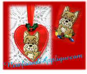 In The Hoop Yorkie Heart Ornament &Embroidery Machine Design for 4x4 hoop