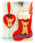 In The Hoop French Bull Dog Stocking And Heart Ornament Embroidery Machine Design Set