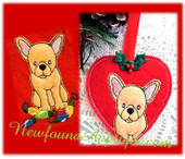 """In The Hoop French Bull Dog Heart Ornament And Embroidery Design Set for 4""""x4"""" Hoop"""