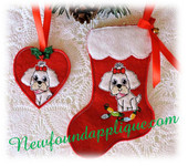 In The Hoop Shih Tzu Stocking and Heart Ornament Embroidery Machine Design Set