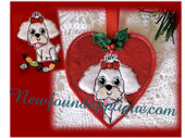 "In The Hoop Shih Tzu Heart Ornament and Embroidery Machine Design Set for 4""x4"" Hoop"