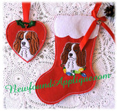 In the hoop King Charles Stocking and Heart Ornament Embroidery Machine Design Set