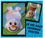 In The Hoop Flat Snowman Coaster Embroidery Machine Design