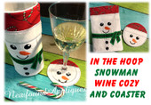 In The Hoop Snowman Wine Cozy and Coaster Embroidery Machine Design Set