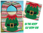 In the Hoop Elf Boby Baby Bib Embroidery Machine Design