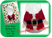"5""x7"" Santa Applique Embroidery Machine Design With Bib Template"