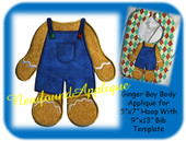 "5""x7"" Gingerbread Boy Body Applique With 9""x13"" Bib Template"
