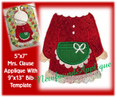 "5""x7"" Mrs. Clause Applique Embroidery Machine Design With 9""x13"" Bib Template"