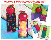 In The Hoop Apple and Apple Heart Book Mark Embroidery Machine Design Set