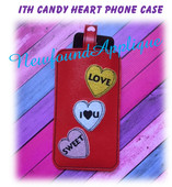 In The hoop Candy Heart Cell Phone Case Embroidery Machine Design