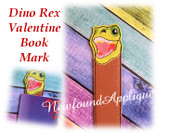 In The Hoop Dino Rex Valentine Book Mark Embroidery Machine Design