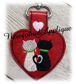 In The Hoop Loveable Cat Key Fob Embroidery Machine Design