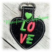 In The Hoop Heart LOVE Key Fob Embroidery Machine Design